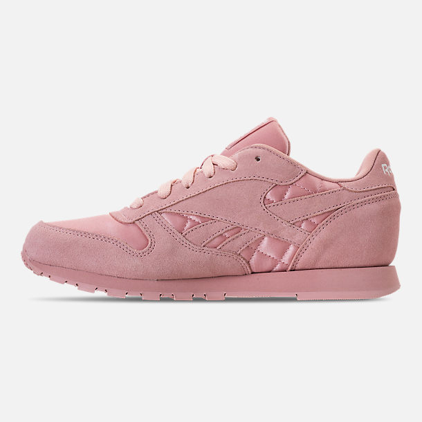 Left view of Girls' Grade School Reebok Classic Leather Satin Casual Shoes in Chalk Pink/Chalk