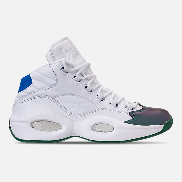 Right view of Men's Reebok Question Mid Basketball Shoes in Stem Green/Vital Blue/White/Purple