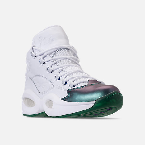 Three Quarter view of Men's Reebok Question Mid Basketball Shoes in Stem Green/Vital Blue/White/Purple