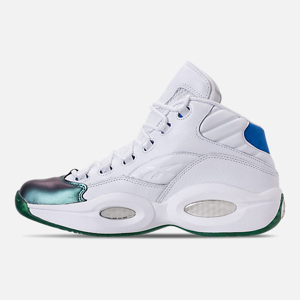 Left view of Men's Reebok Question Mid Basketball Shoes in Stem Green/Vital Blue/White/Purple