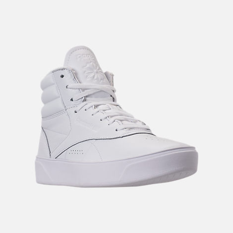 Three Quarter view of Women's Reebok Freestyle Hi Nova Casual Shoes in White