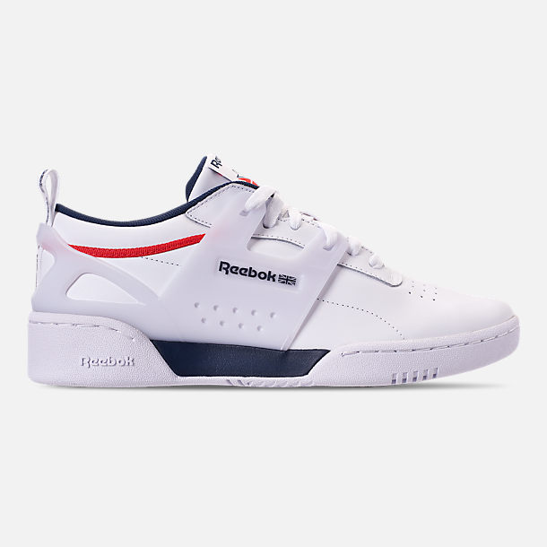 Right view of Men's Reebok Workout Adv Casual Shoes in White/Collegiate Navy/Primal Red