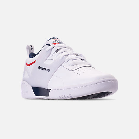 Three Quarter view of Men's Reebok Workout Adv Casual Shoes in White/Collegiate Navy/Primal Red