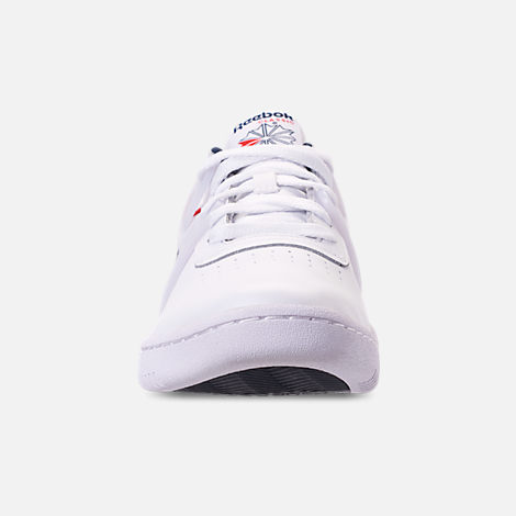 Front view of Men's Reebok Workout Adv Casual Shoes in White/Collegiate Navy/Primal Red