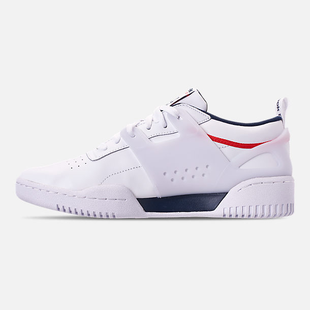 Left view of Men's Reebok Workout Adv Casual Shoes in White/Collegiate Navy/Primal Red