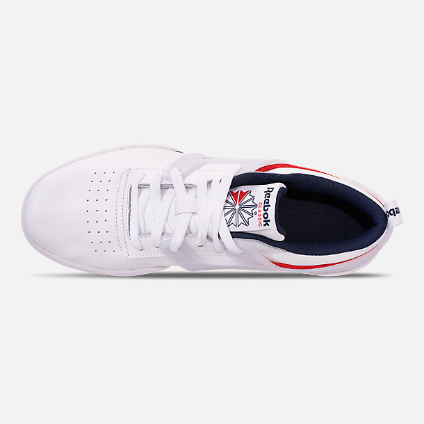 Top view of Men's Reebok Workout Adv Casual Shoes in White/Collegiate Navy/Primal Red