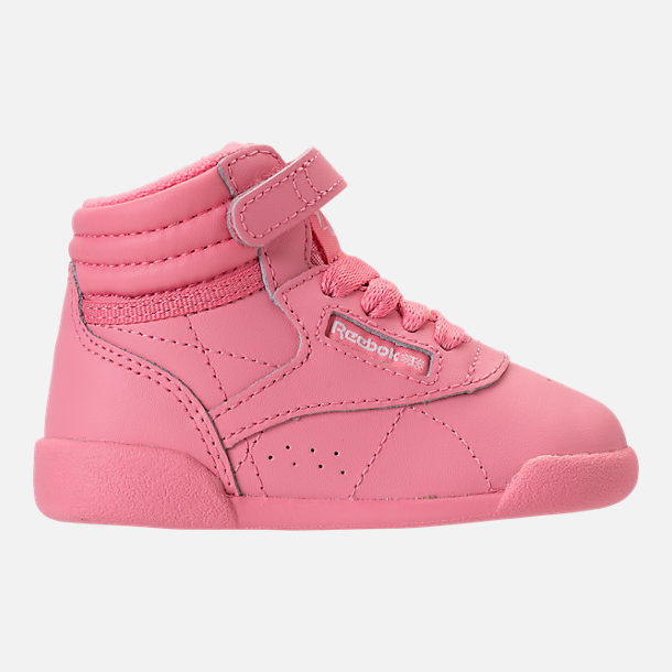 Right view of Girls' Toddler Reebok Freestyle Hi Casual Shoes in Pink