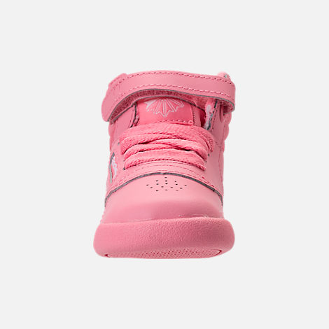 Front view of Girls' Toddler Reebok Freestyle Hi Casual Shoes in Pink