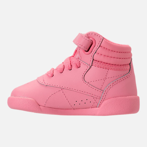 Left view of Girls' Toddler Reebok Freestyle Hi Casual Shoes in Pink