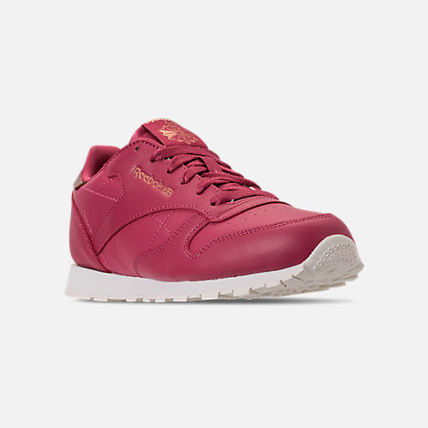 Three Quarter view of Girls' Big Kids' Reebok Classic Leather Casual Shoes