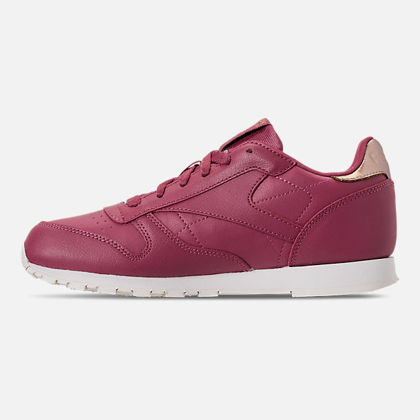 Left view of Girls' Big Kids' Reebok Classic Leather Casual Shoes