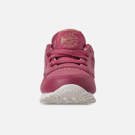 Front view of Girls' Toddler Reebok Classic Leather Casual Shoes in Twisted Berry/Chalk