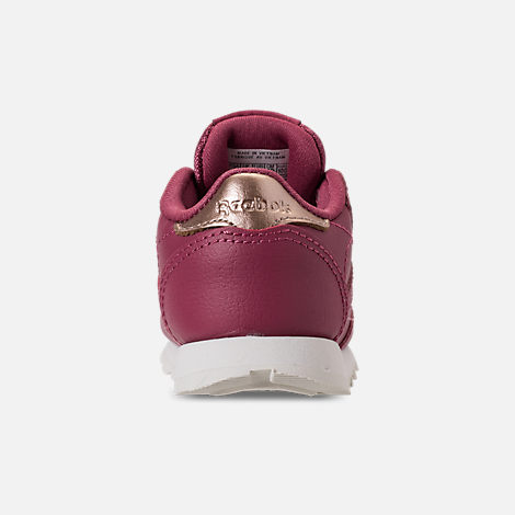 Back view of Girls' Toddler Reebok Classic Leather Casual Shoes in Twisted Berry/Chalk