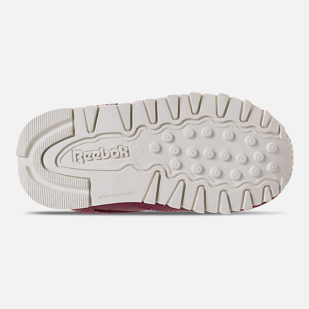 Bottom view of Girls' Toddler Reebok Classic Leather Casual Shoes in Twisted Berry/Chalk