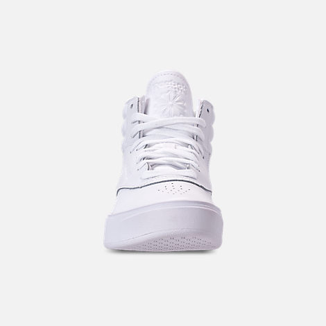 Front view of Girls' Big Kids' Reebok Freestyle Hi Nova Casual Shoes in White