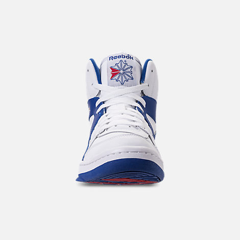 Front view of Men's Reebok BB 5600 Archive Off-Court Shoes in White/Collegiate Royal/Excellent Red