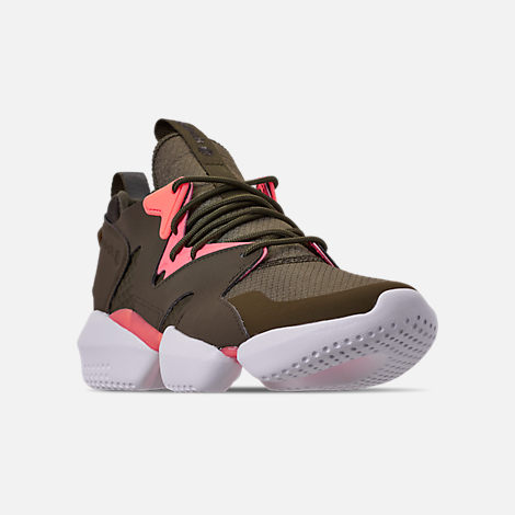 Three Quarter view of Men's Reebok 3D OP. Lite Casual Shoes in Army Green/Digi Pink