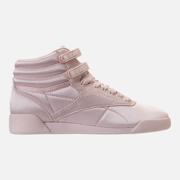 Right view of Girls' Grade School Reebok Freestyle Hi Lux TXT Casual Shoes in Pale Pink/White