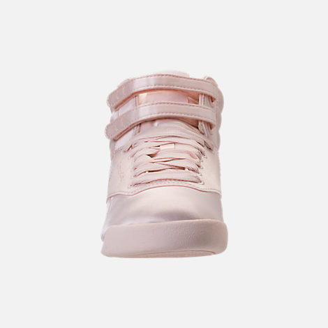 Front view of Girls' Grade School Reebok Freestyle Hi Lux TXT Casual Shoes in Pale Pink/White