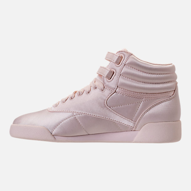 Left view of Girls' Grade School Reebok Freestyle Hi Lux TXT Casual Shoes in Pale Pink/White