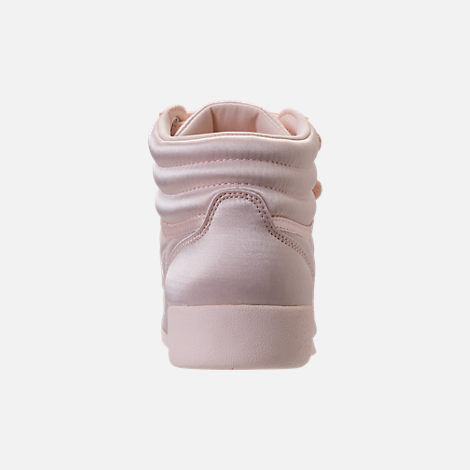 Back view of Girls' Grade School Reebok Freestyle Hi Lux TXT Casual Shoes in Pale Pink/White
