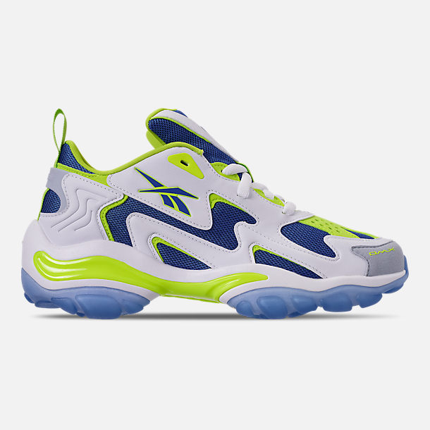 Right view of Men's Reebok DMX Series 1600 Casual Shoes in White/Neon Lime/Crushed Coral