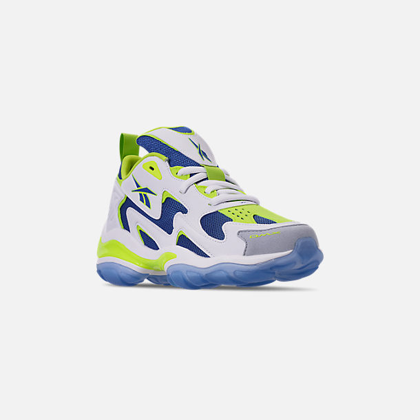 Three Quarter view of Men's Reebok DMX Series 1600 Casual Shoes in White/Neon Lime/Crushed Coral