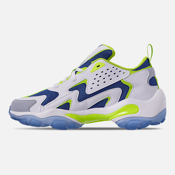 Left view of Men's Reebok DMX Series 1600 Casual Shoes in White/Neon Lime/Crushed Coral