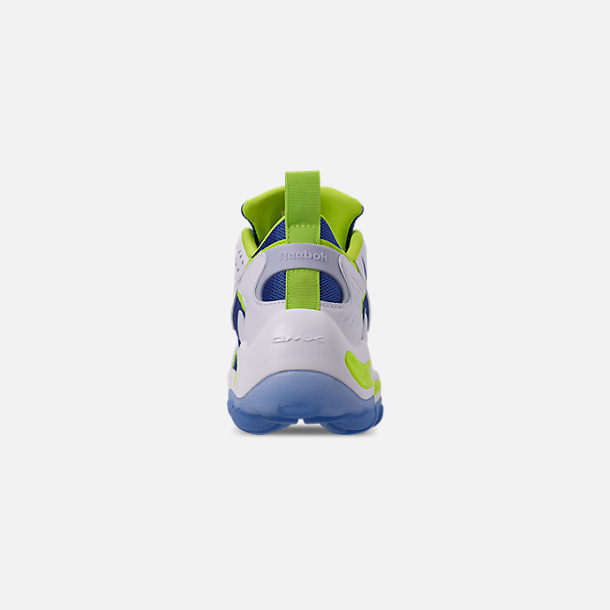 Back view of Men's Reebok DMX Series 1600 Casual Shoes in White/Neon Lime/Crushed Coral