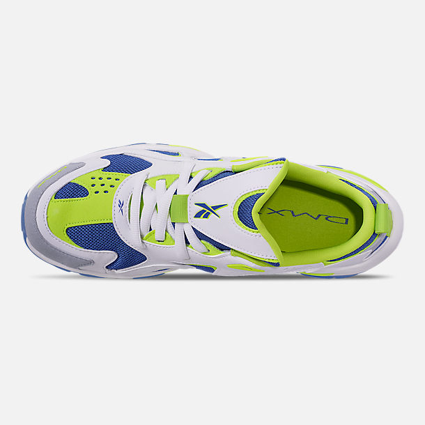 Top view of Men's Reebok DMX Series 1600 Casual Shoes in White/Neon Lime/Crushed Coral