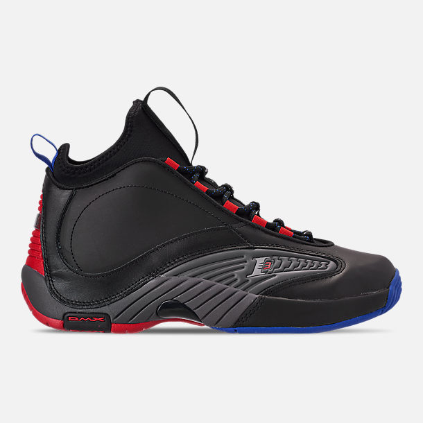 Right view of Men's Reebok Answer IV.V Basketball Shoes in Black/Ash Grey/Primal Red/Vital Blue