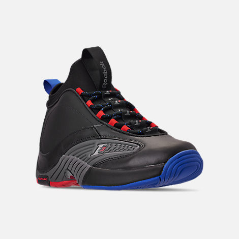 Three Quarter view of Men's Reebok Answer IV.V Basketball Shoes in Black/Ash Grey/Primal Red/Vital Blue