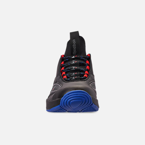 Front view of Men's Reebok Answer IV.V Basketball Shoes in Black/Ash Grey/Primal Red/Vital Blue