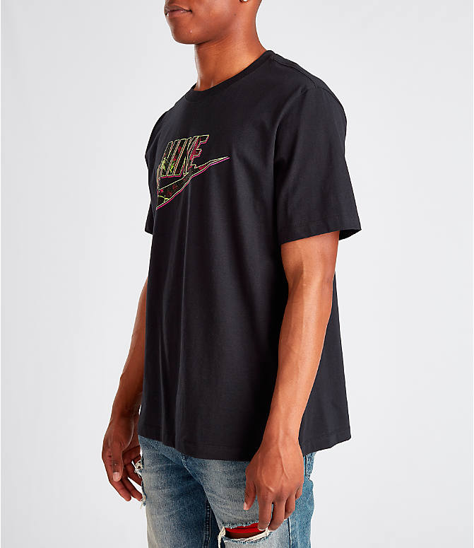 Front Three Quarter view of Men's Nike Sportswear Gel Limeade Logo T-Shirt in Black