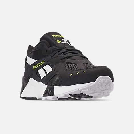 Three Quarter view of Men's Reebok Classics Aztrek Casual Shoes in Black/White/Solar Yellow