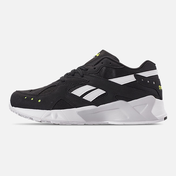 Left view of Men's Reebok Classics Aztrek Casual Shoes in Black/White/Solar Yellow