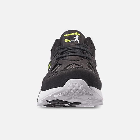Back view of Men's Reebok Classics Aztrek Casual Shoes in Black/White/Solar Yellow