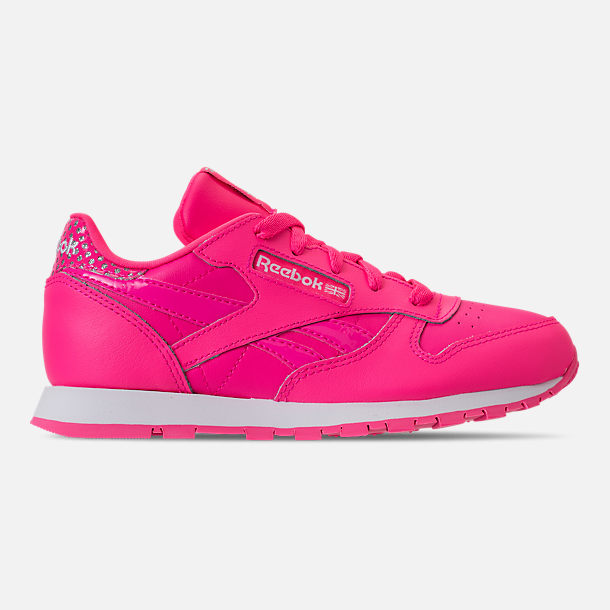 Right view of Girls' Preschool Reebok Classic Leather Girl Squad Casual Shoes in Acid Pink/White