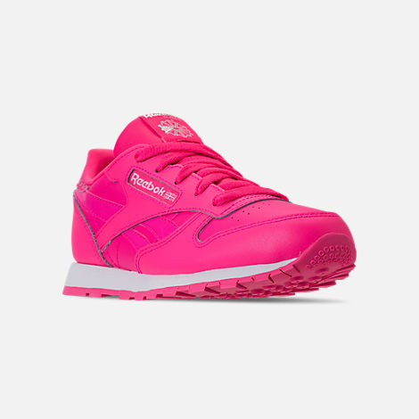 Three Quarter view of Girls' Preschool Reebok Classic Leather Girl Squad Casual Shoes in Acid Pink/White