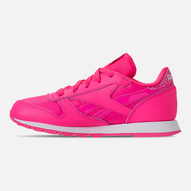 Left view of Girls' Preschool Reebok Classic Leather Girl Squad Casual Shoes in Acid Pink/White