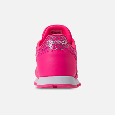 Back view of Girls' Preschool Reebok Classic Leather Girl Squad Casual Shoes in Acid Pink/White
