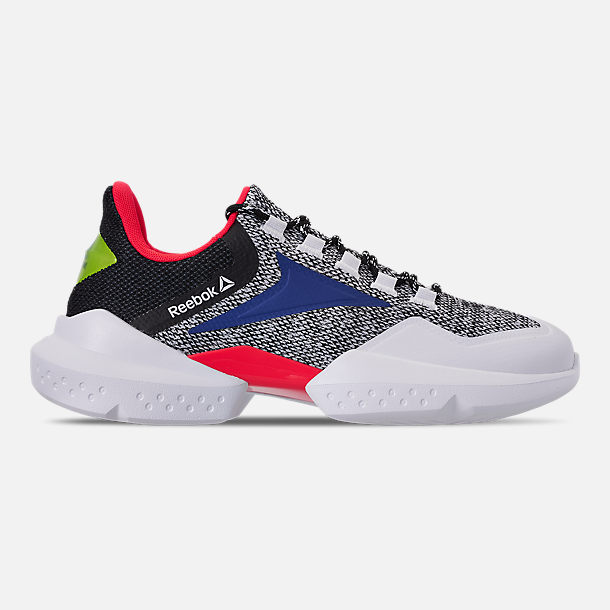 Right view of Men's Reebok Split Fuel Casual Shoes in White/Black/Team Dark Royal/Neon Red