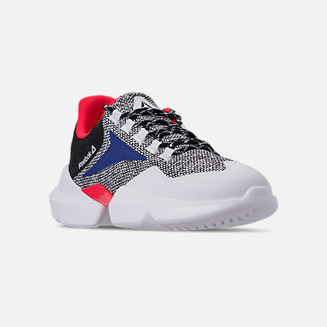 Three Quarter view of Men's Reebok Split Fuel Casual Shoes in White/Black/Team Dark Royal/Neon Red