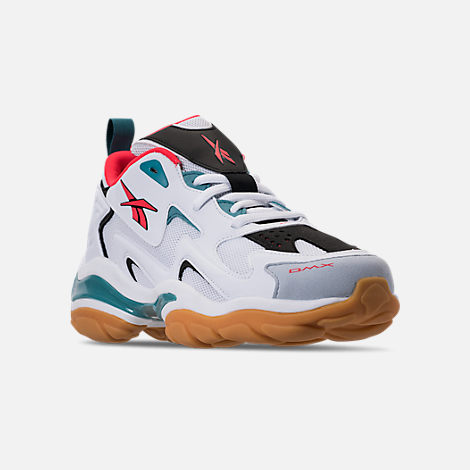 Three Quarter view of Men's Reebok DMX Series 1600 Casual Shoes in White/Black/Neon Red/Mineral Mist