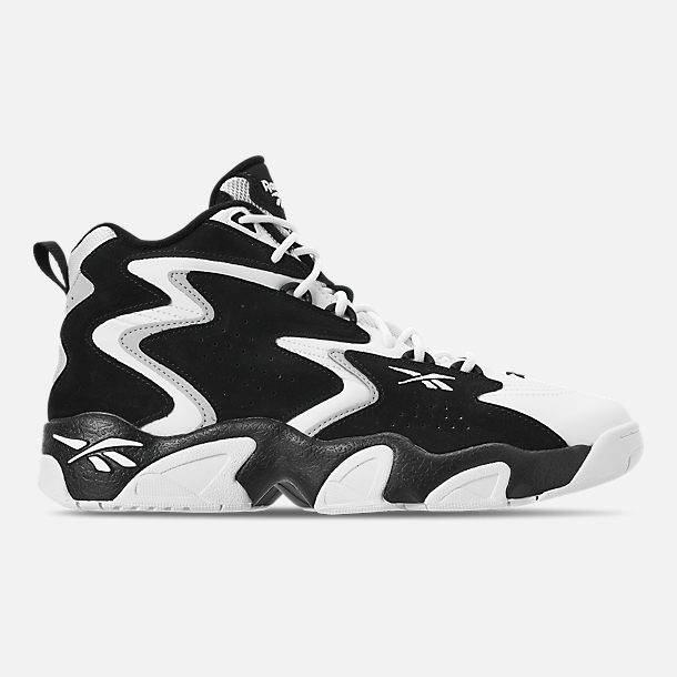 Right view of Men's Reebok Mobius OG MU Basketball Shoes in Black/White/Snow Grey