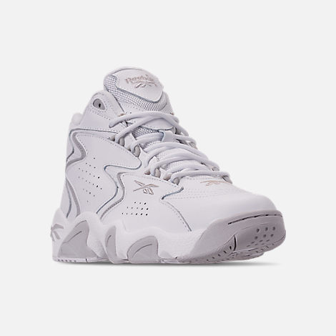 Three Quarter view of Men's Reebok Mobius OG Basketball Shoes in White/Snowy Grey