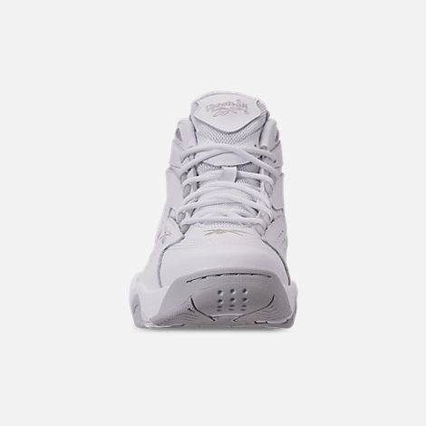 Front view of Men's Reebok Mobius OG Basketball Shoes in White/Snowy Grey