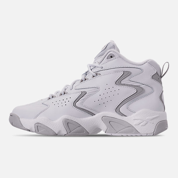 Left view of Men's Reebok Mobius OG Basketball Shoes in White/Snowy Grey