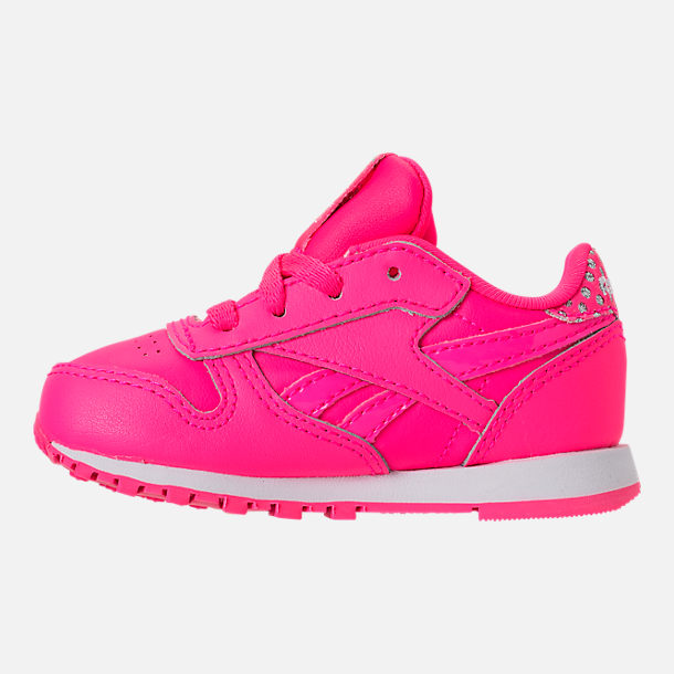 Left view of Girls' Toddler Reebok Classic Leather Girl Squad Casual Shoes in Acid Pink/White