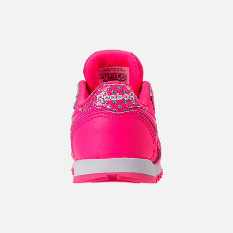 Back view of Girls' Toddler Reebok Classic Leather Girl Squad Casual Shoes in Acid Pink/White
